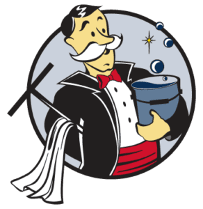 Window Butler Circle Icon Man with Window Cleaning Equipment
