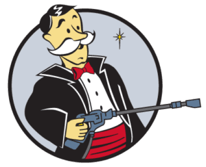 Window Butler Circle Icon Man with Pressure Washer